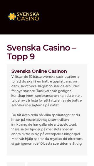 Mobile preview of svenskacasino.top