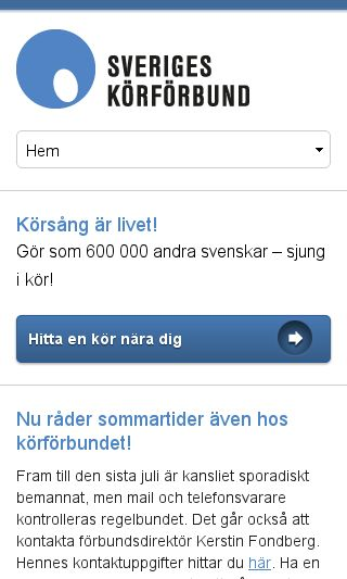 Mobile preview of sverigeskorforbund.se