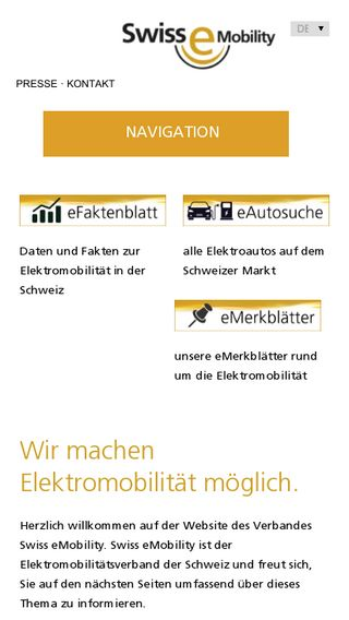 Mobile preview of swiss-emobility.ch