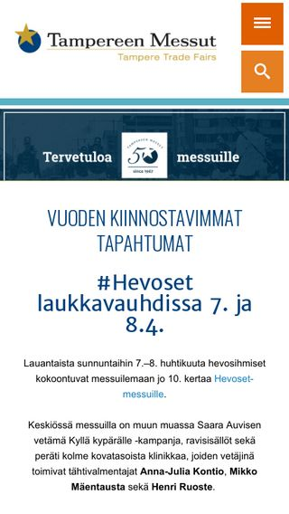 Mobile preview of tampereenmessut.fi