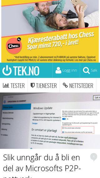 Mobile preview of tek.no