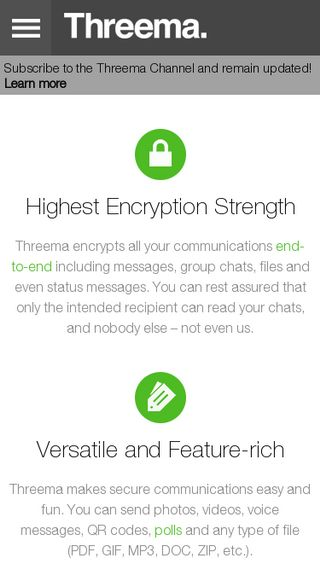 Mobile preview of threema.ch