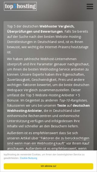 Mobile preview of top5hosting.de