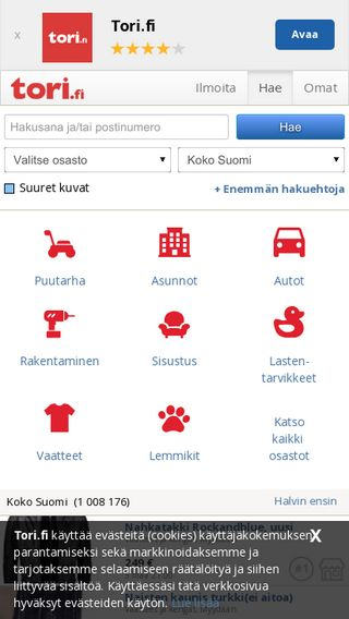 Mobile preview of tori.fi