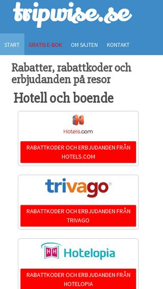 Mobile preview of tripwise.se