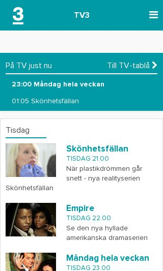 Mobile preview of tv3.se