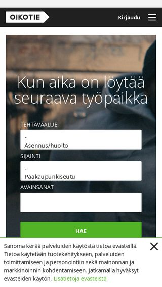 Mobile preview of tyopaikat.oikotie.fi