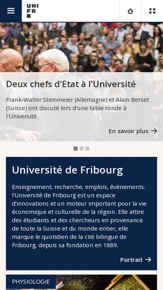 Mobile preview of unifr.ch