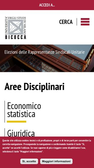Mobile preview of unimib.it