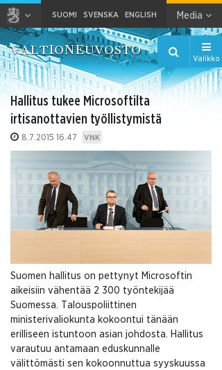 Mobile preview of valtioneuvosto.fi