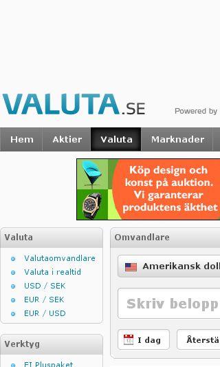Mobile preview of valuta.se