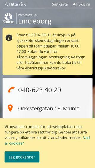 Mobile preview of vardcentralenlindeborg.se