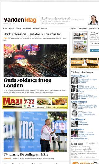 Mobile preview of varldenidag.se