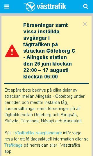 Mobile preview of vasttrafik.se