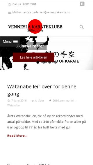 Mobile preview of venneslakarate.no