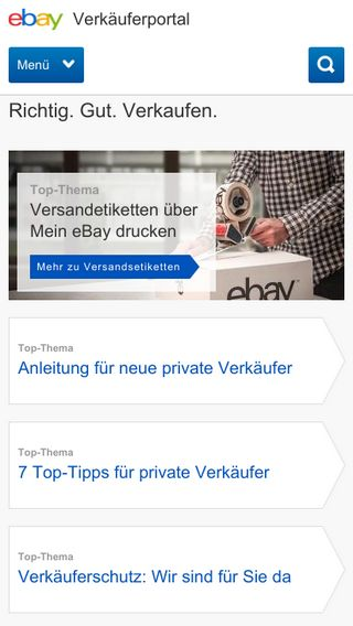 Mobile preview of verkaeuferportal.ebay.de