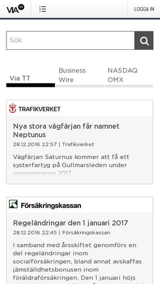 Mobile preview of via.tt.se