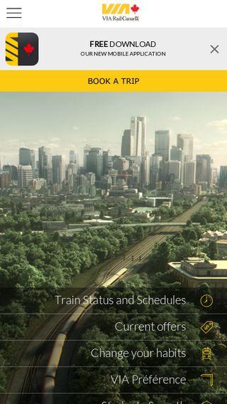 Mobile preview of viarail.ca