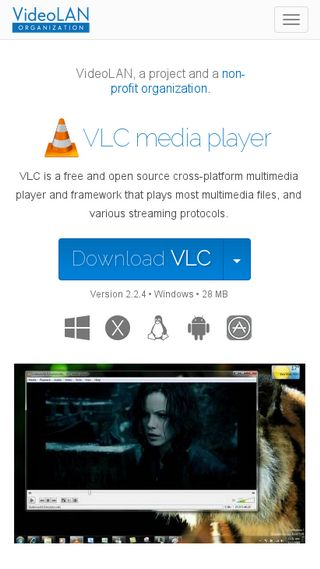 Mobile preview of videolan.org