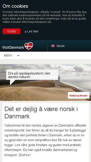 Mobile preview of visitdenmark.no