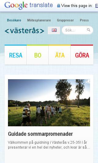 Mobile preview of visitvasteras.se