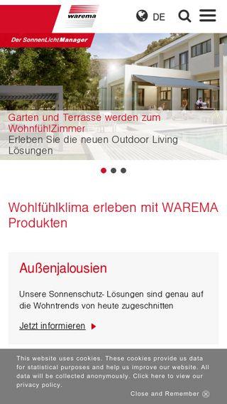 Mobile preview of warema.de