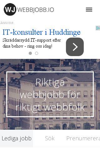 Mobile preview of webbjobb.io