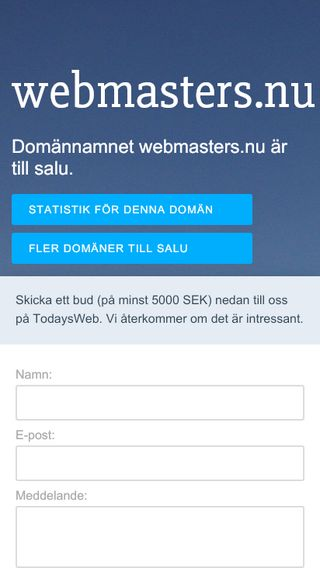 Mobile preview of webmasters.nu