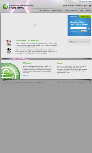 Mobile preview of website.ws