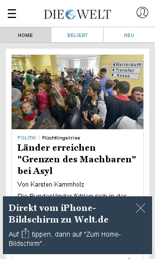 Mobile preview of welt.de