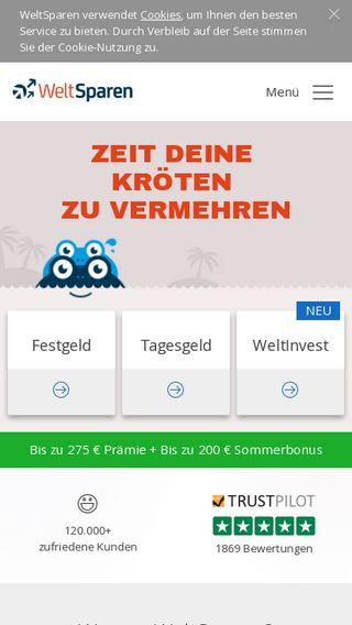 Mobile preview of weltsparen.de
