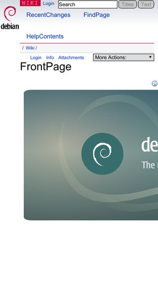 Mobile preview of wiki.debian.org
