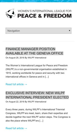 Mobile preview of wilpf.org