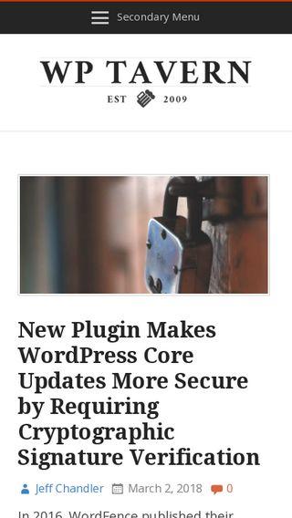 Mobile preview of wptavern.com