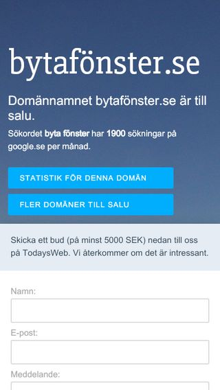 Mobile preview of bytafönster.se