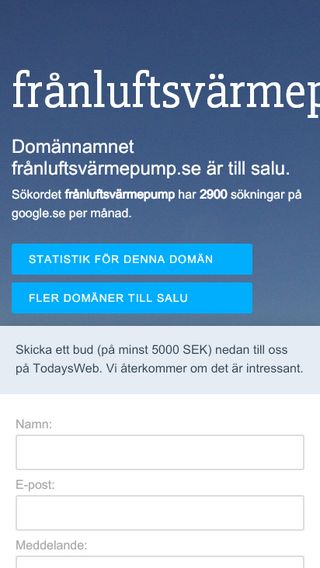 Mobile preview of frånluftsvärmepump.se