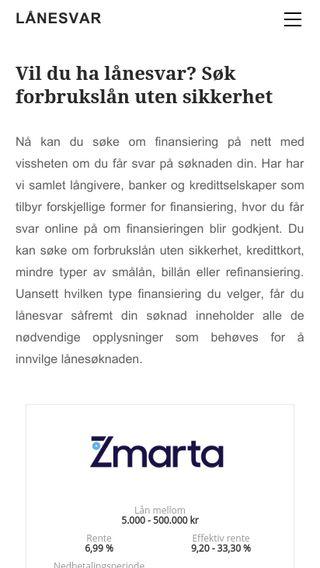 Mobile preview of lånesvar.no