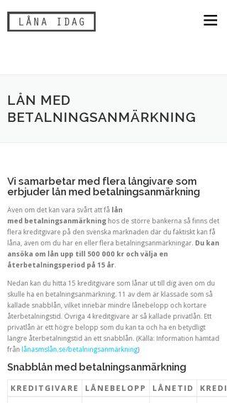 Mobile preview of lånmedbetalningsanmärkning.se