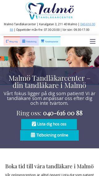 Mobile preview of malmötandläkarcenter.se