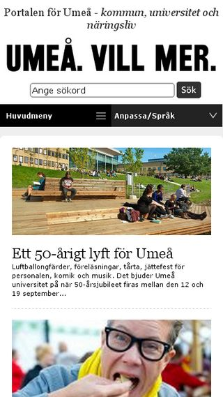 Mobile preview of umeå.se