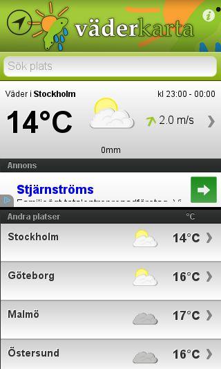 Mobile preview of väderkarta.se