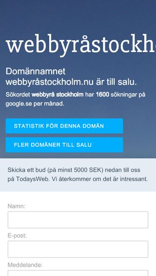 Mobile preview of webbyråstockholm.nu