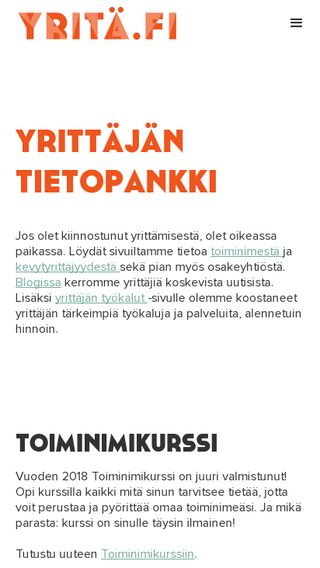 Mobile preview of yritä.fi