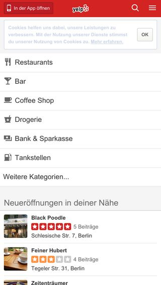 Mobile preview of yelp.de