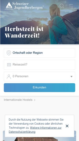 Mobile preview of youthhostel.ch